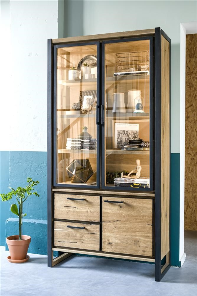 Vitrine Mit Glasturen Metall Holz Design Metalo Henders Hazel