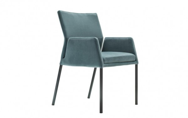 Stuhl 4-Beinig mit Armlehne blau XL