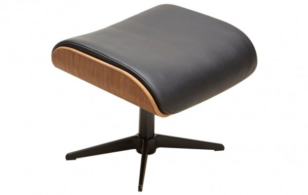 Hocker Walnuss Schwarz Holz Leder Natura Detroit Sessel