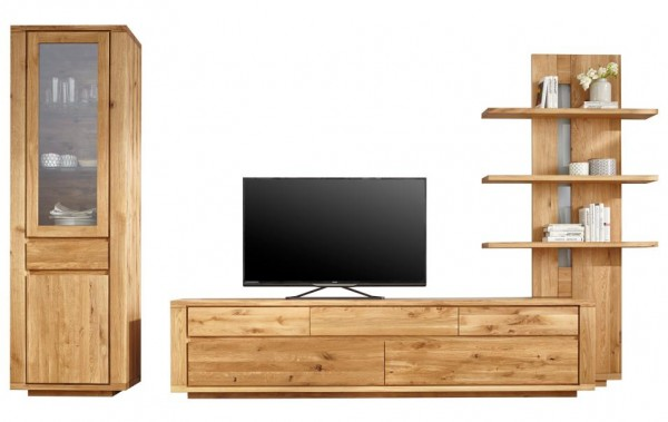 wohnwand 3 teilig massiv eiche natura bakersfield. Black Bedroom Furniture Sets. Home Design Ideas