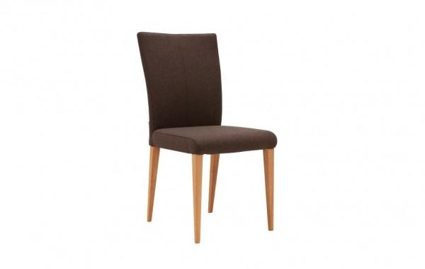 Stuhl 4-beinig braun Stoff mit Buchefüßen