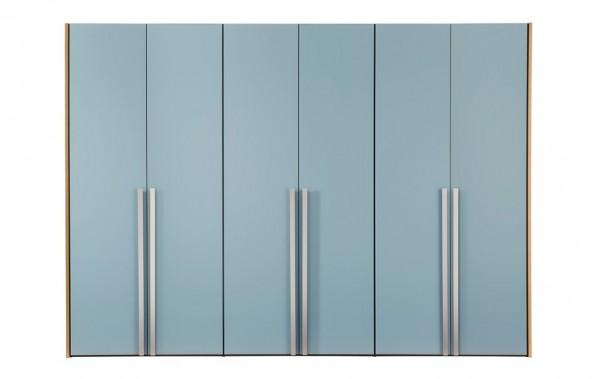 Drehtürenschrank mit 6 hellblauen Glastüren