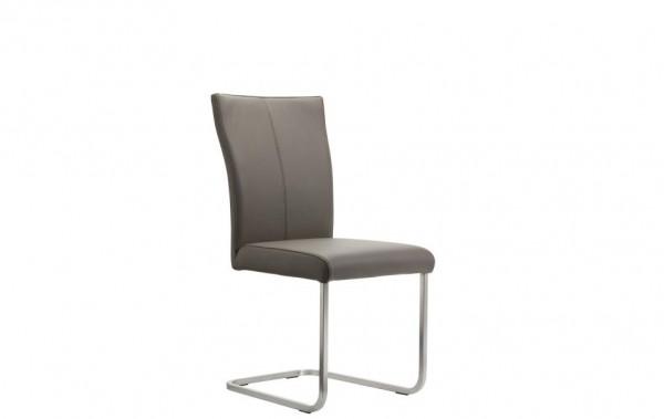 Stuhl Freischwinger Leder grau braun