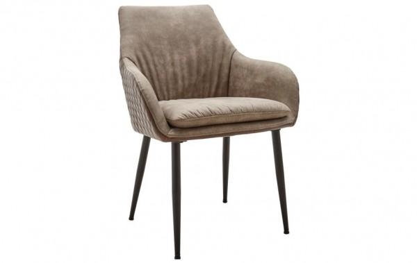 Stuhl 4 beinig braun gesteppter rücken schwarze holzbeine