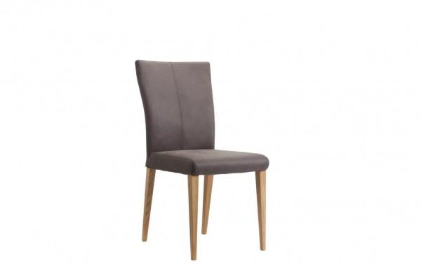 Stuhl 4-beinig braun Stoff Eiche