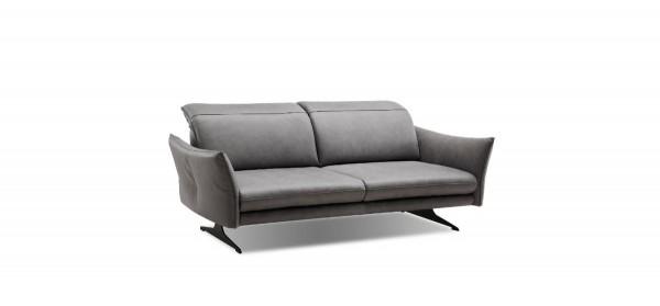 3-Sitzer-Ledersofa Natura Burnett mit Sitztiefenverstellung in grau