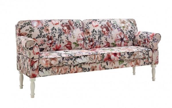 sofa sitzbank romantisch blumen verstellbare lehne rückenlehne holzfüsse weiß