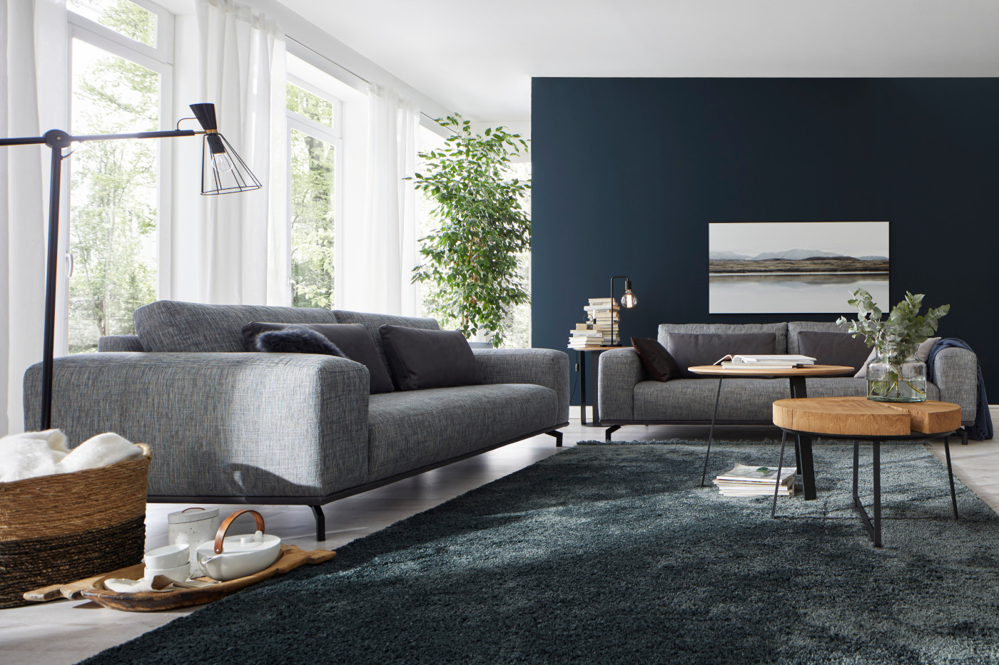 sofa 3 sitzer stoff grau meliert natura brooklyn sofas couchen wohnzimmer m bel wikinger. Black Bedroom Furniture Sets. Home Design Ideas