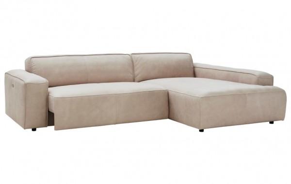 ecksofa mit sitztiefenverstellung beige leder natura denver sofas couchen wohnzimmer. Black Bedroom Furniture Sets. Home Design Ideas
