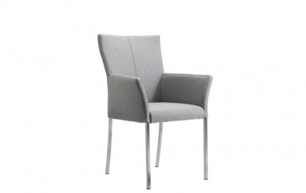 Stuhl 4-beinig mit Armlehnen hellgrau Stoff