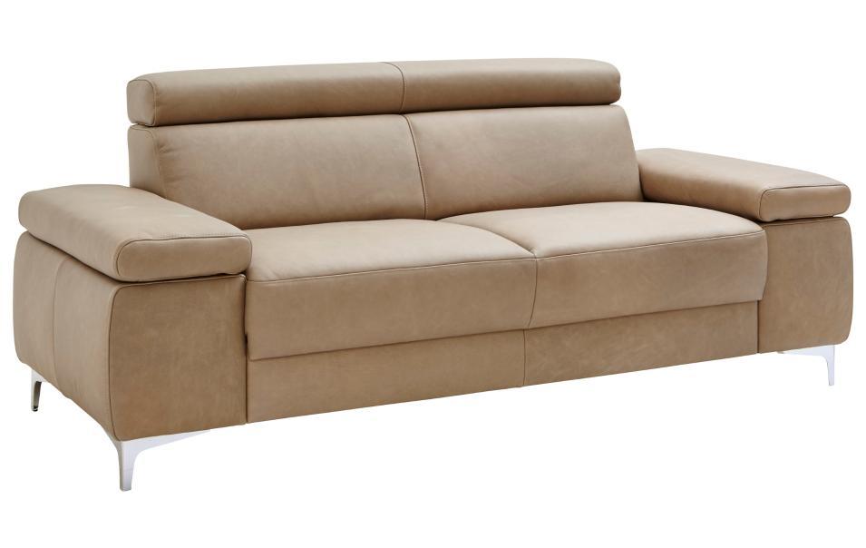 sofa 2 5 sitzer braun metallf sse leder natura philadelphia sofas couchen wohnzimmer. Black Bedroom Furniture Sets. Home Design Ideas