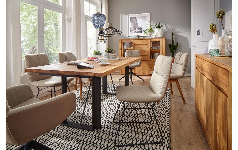esstisch mit designkante und querstreben 200cm natura bakersfield esstische esszimmer. Black Bedroom Furniture Sets. Home Design Ideas