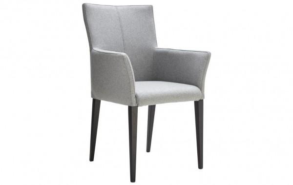 Stuhl mit Armlehnen 4-beinig hellgrau Stoff schwarz