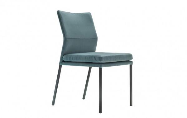 Stuhl 4-Beinig blau Stoff XL