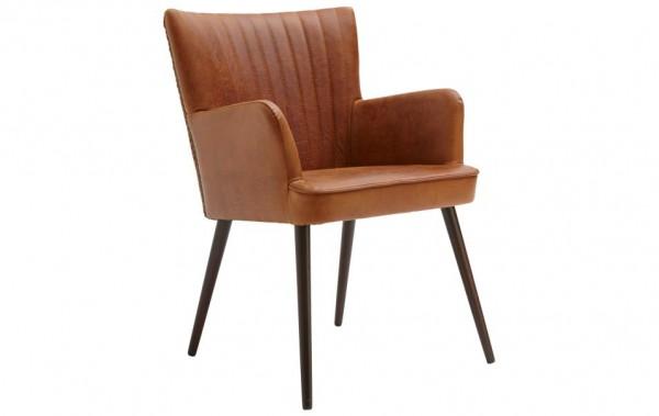 Stuhl mit Armlehnen braun Leder Retro-Look Natura Flint | Stühle ...