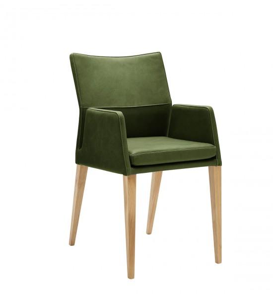 Stuhl 4-Beinig mit Armlehnen grün leder Eiche